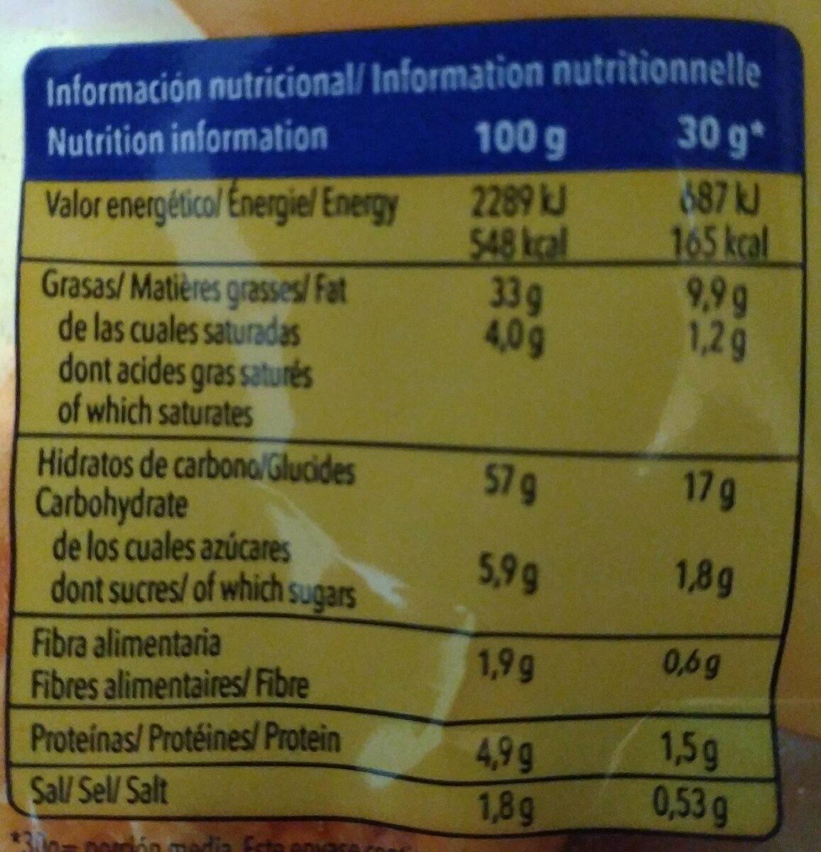 Cheese Tronkess - Informació nutricional