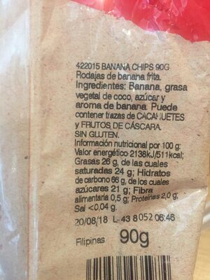 Banana Chips - Ingredientes