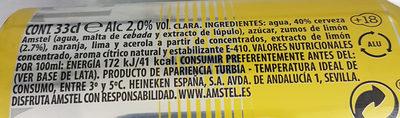 Amstel Radler - Información nutricional