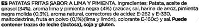 """Patatas fritas onduladas """"Vicente Vidal"""" Río de Janeiro Style - Ingredientes"""