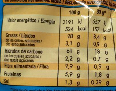 Crispetes Mantega 145G - Nutrition facts