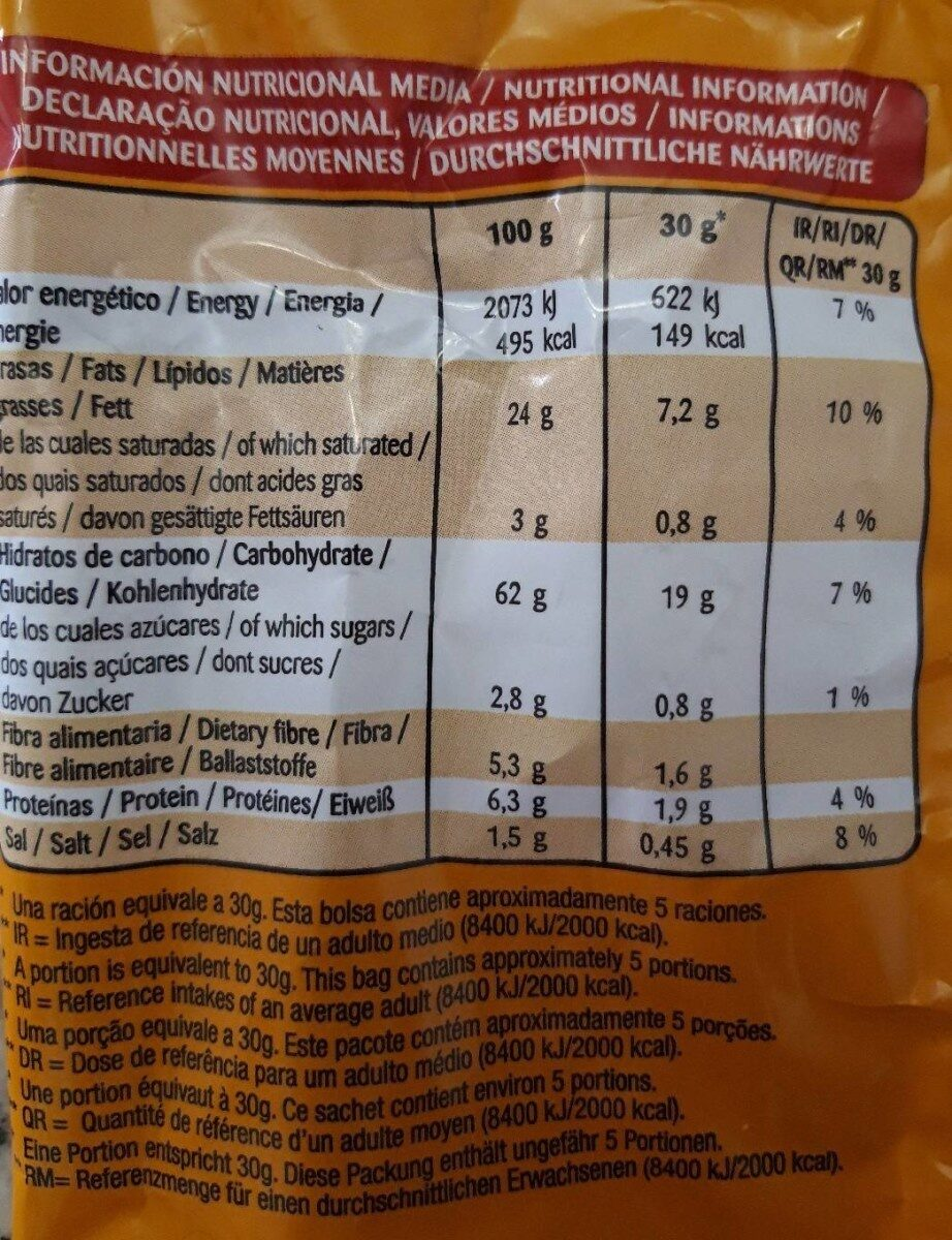 Puntazos Nachos tex mex - Informació nutricional