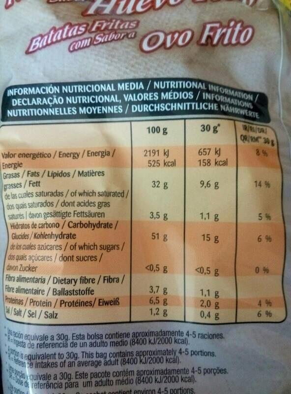 Patatas fritas sabor huevo frito - Informació nutricional - es