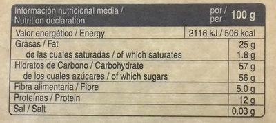 Turrón a la piedra vegano - Informations nutritionnelles - es