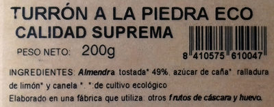 Turrón a la piedra Eco - Ingredientes - es