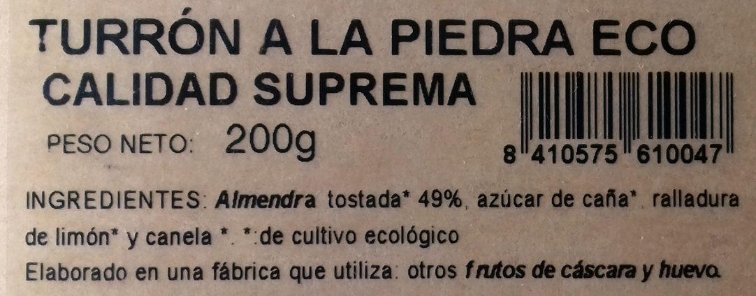 Turrón a la piedra Eco - Ingrediënten - es