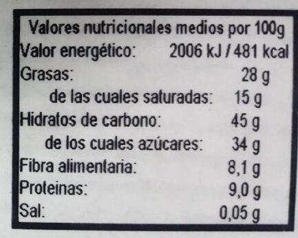 Turron de coco y chia eco - Información nutricional - es