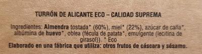 Turrón de Alicante Eco - Ingredientes - es