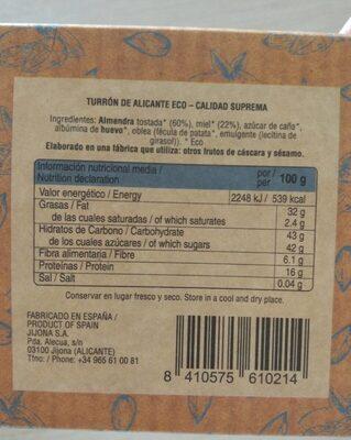 Turrón de Alicante Eco - Información nutricional - es