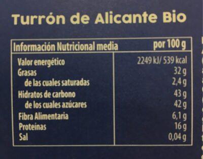 Turrón de Alicante Bio - Información nutricional - es
