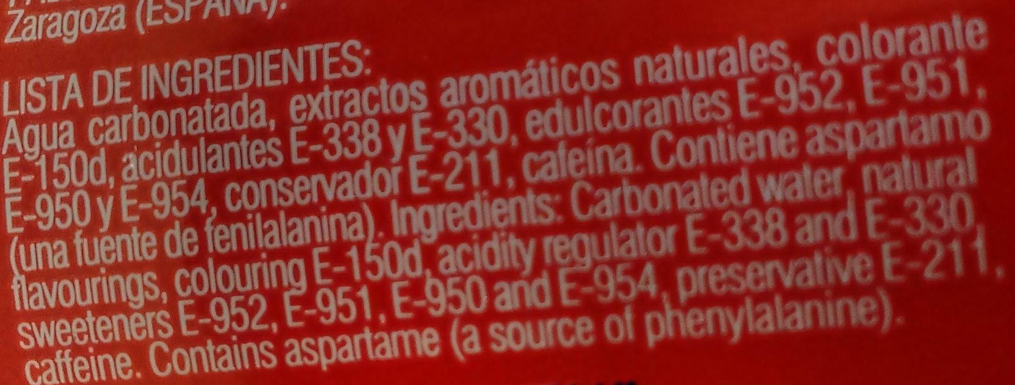 Berta Cola - Ingredientes - es