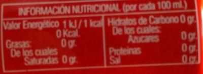 Berta Cola - Información nutricional