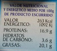 Calmars En Sauce Americane Pescamar. - Informations nutritionnelles