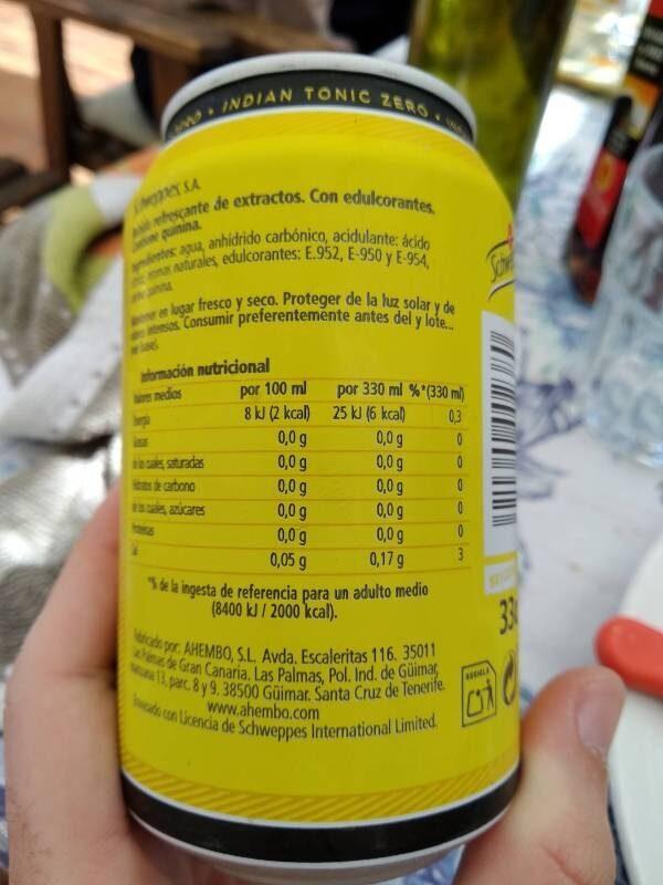 Tónica Zero - Información nutricional - es