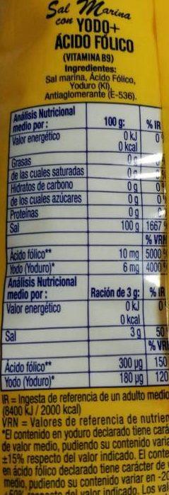 Sal Marina con Yodo y Ácido Fólico - Nutrition facts