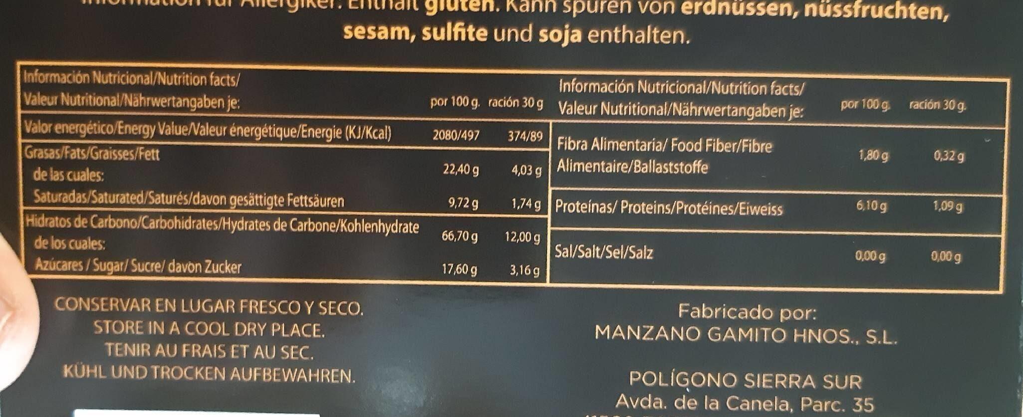 Nevaditos de vainilla y chocolate - Informations nutritionnelles - es