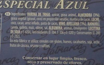 Surtido especial Azul - Ingredientes - es