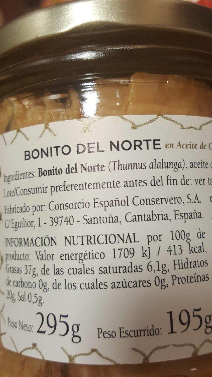 Bonito del norte - Informació nutricional