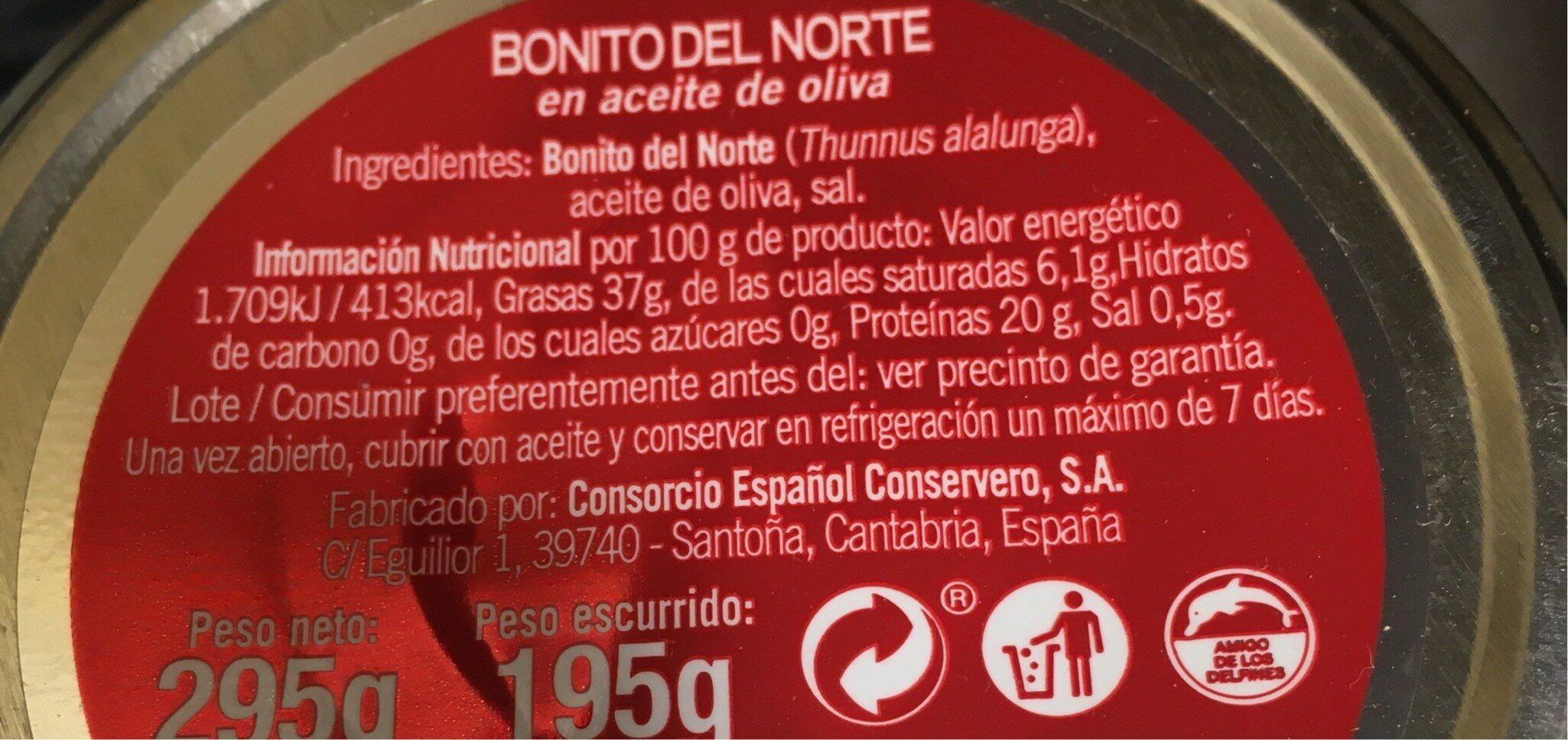 Bonito del norte - Informations nutritionnelles - fr