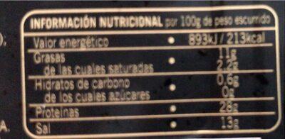 Anchoas del cantabrico en aceite de oliva - Informació nutricional - es