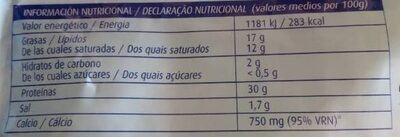 2 quesos rallado light - Informació nutricional