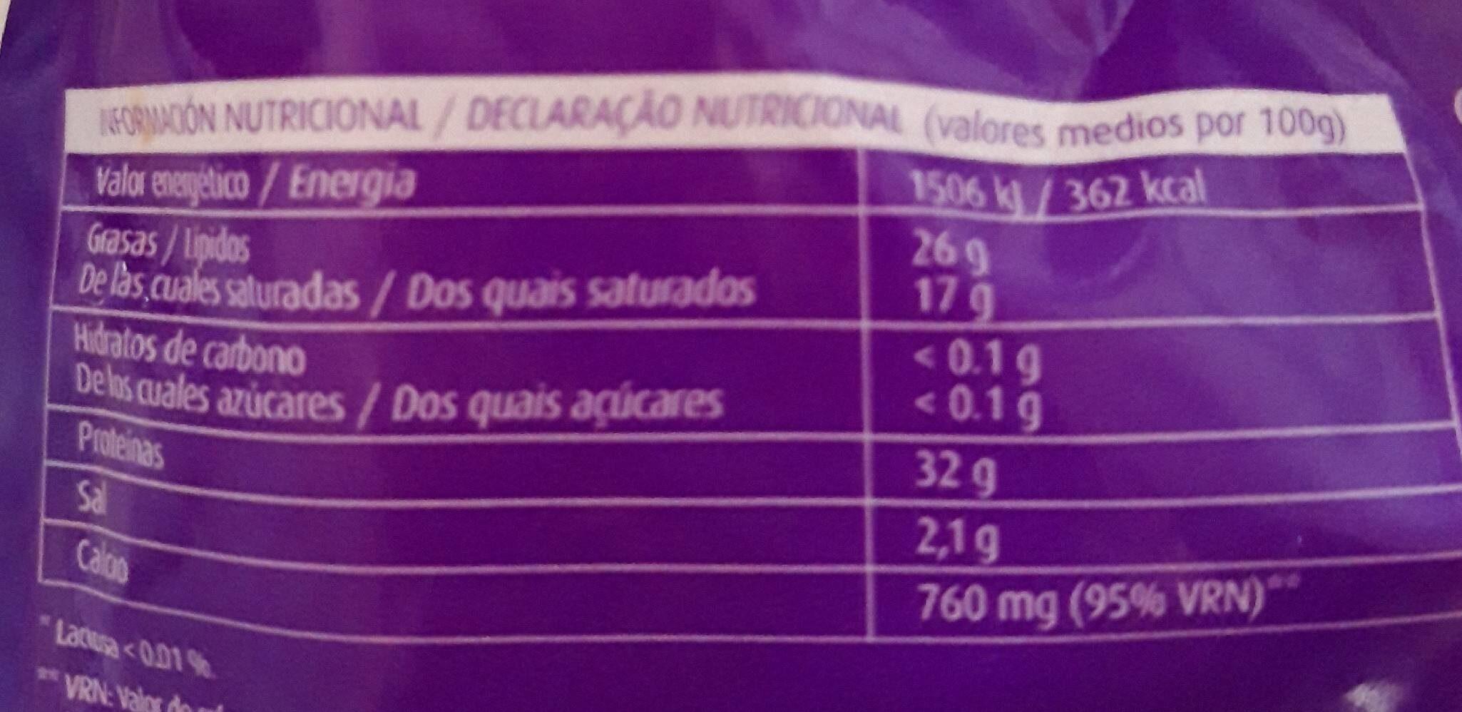 Queso rallado sin lactosa - Informations nutritionnelles - es