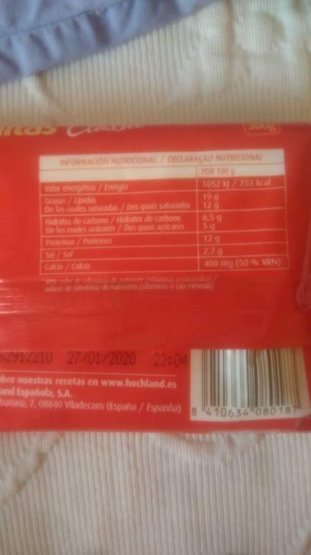 Sabanitas classic queso fundido lonchas sin gluten - Informació nutricional