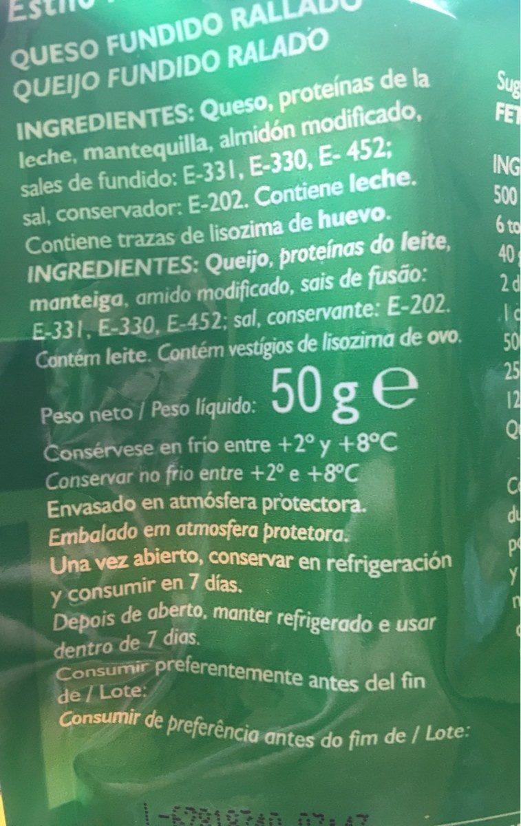 Queso parmesano polvo sin gluten - Ingrédients - fr
