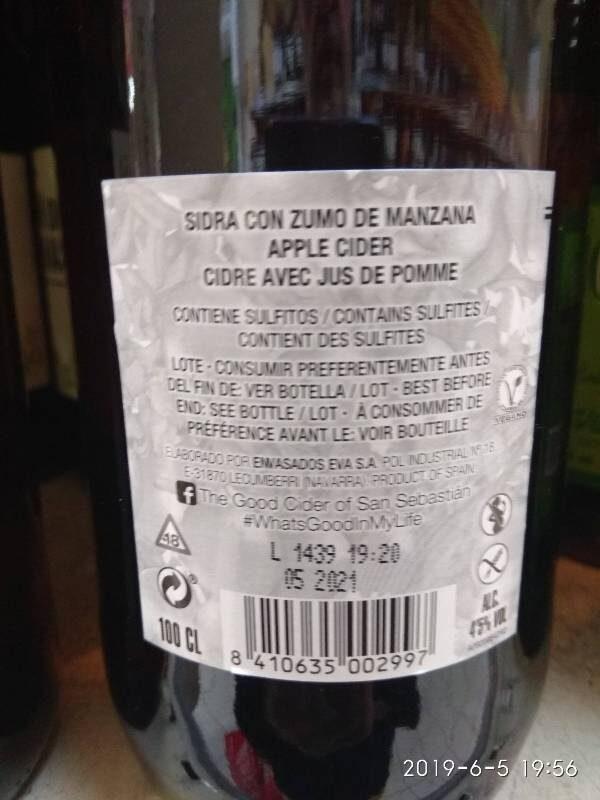 The Good Cider - Ingredients - es