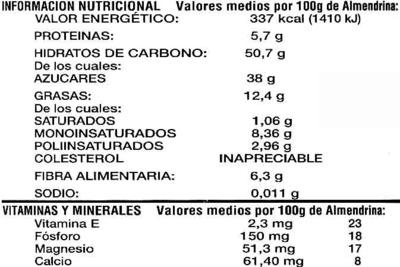 Crema de almendras - Voedingswaarden
