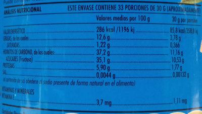 Crema de almendras con fructosa - Información nutricional - es