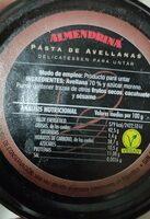Pasta de avellanas - Nutrition facts - es