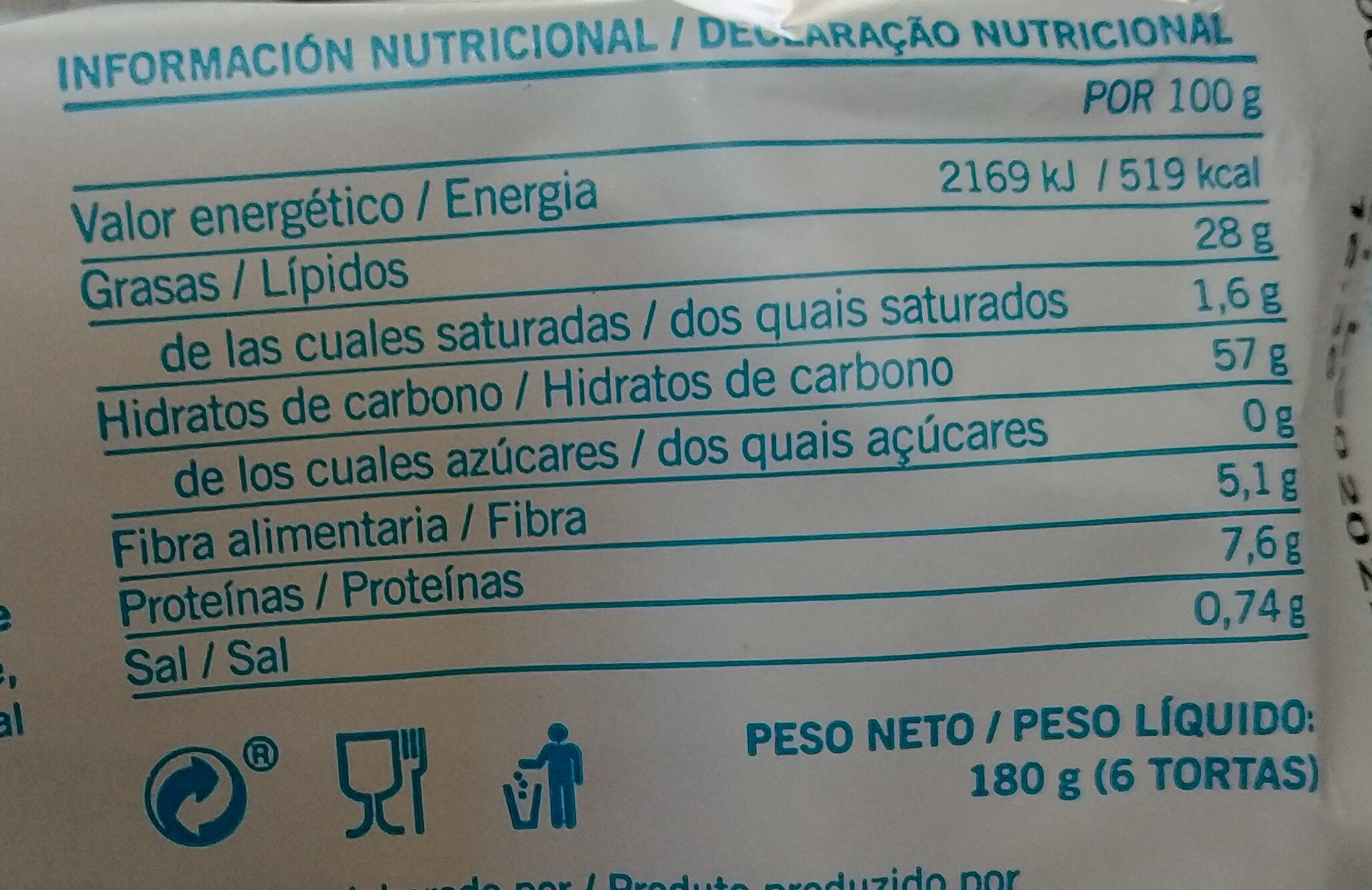 Tortas de aceite sin azucar - Informação nutricional - es