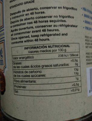 Pińa en rodajas - Informations nutritionnelles - es