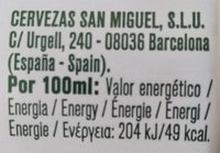 bière San Miguel - Información nutricional