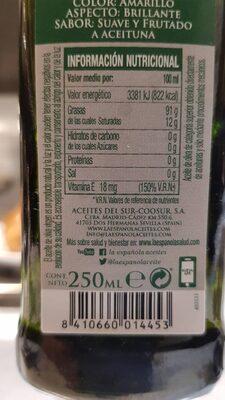 Aceite de oliva virgen extra - Voedingswaarden - es