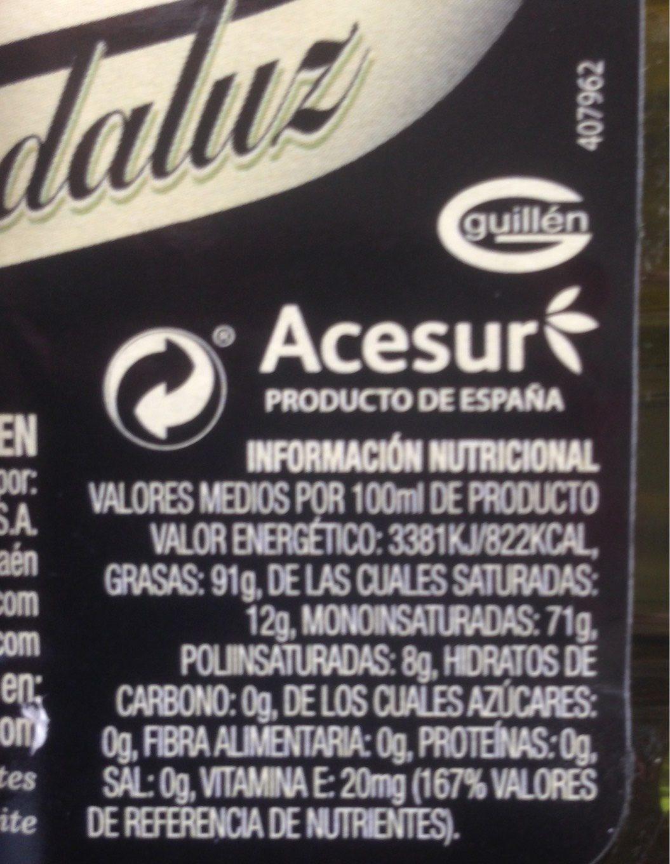Aceite de oliva virgen Aroma Andaluz botella 1 l - Voedingswaarden - fr