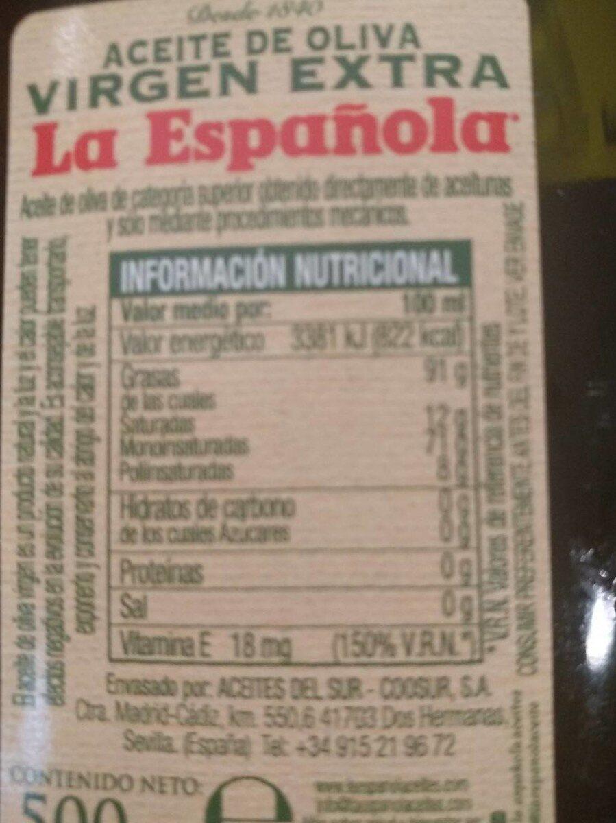 Aceite de Oliva Virgen Extra La Española - Voedingswaarden - es