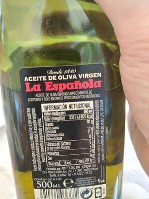 Aceite de oliva virgen - Voedingswaarden