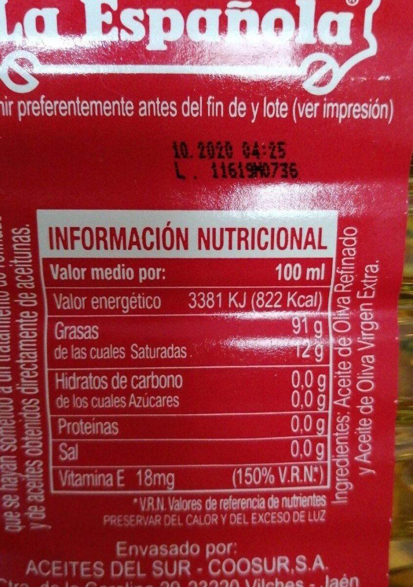 Aceite de oliva - Voedingswaarden - es