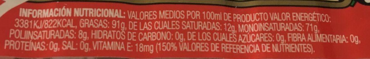 Aceite de oliva suave 0,4º botella 1 l - Voedingswaarden - es