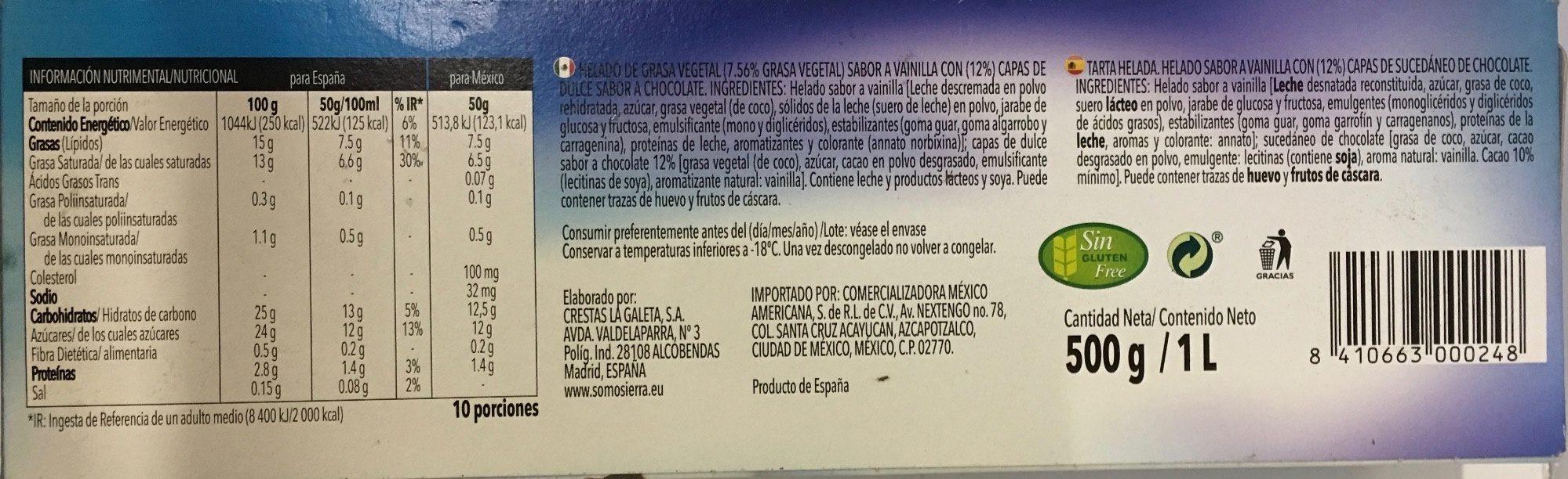 Tarta de vainilla - Ingredients - es