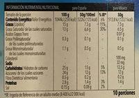 Tarta de vainilla - Información nutricional - es