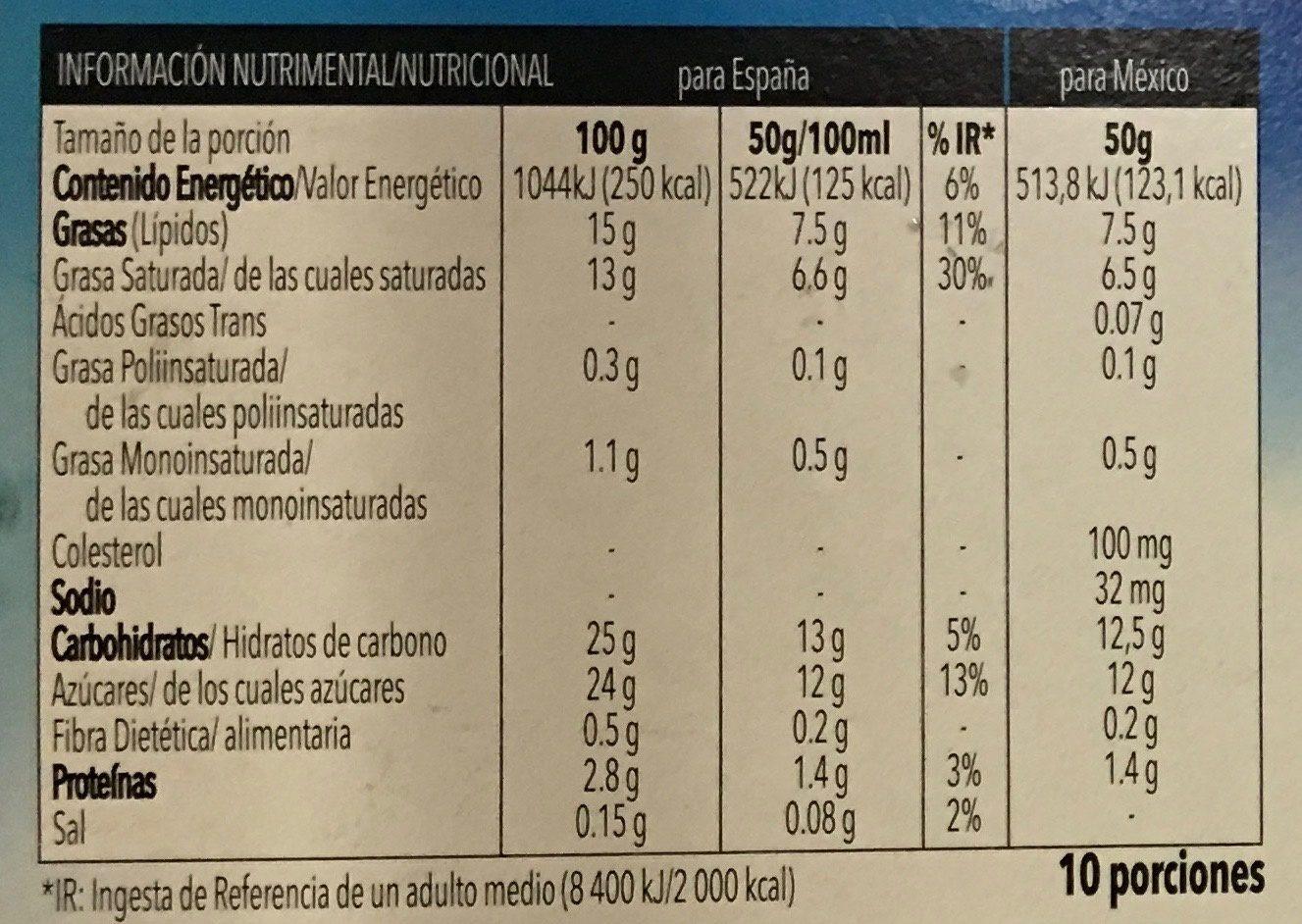 Tarta de vainilla - Informació nutricional - es