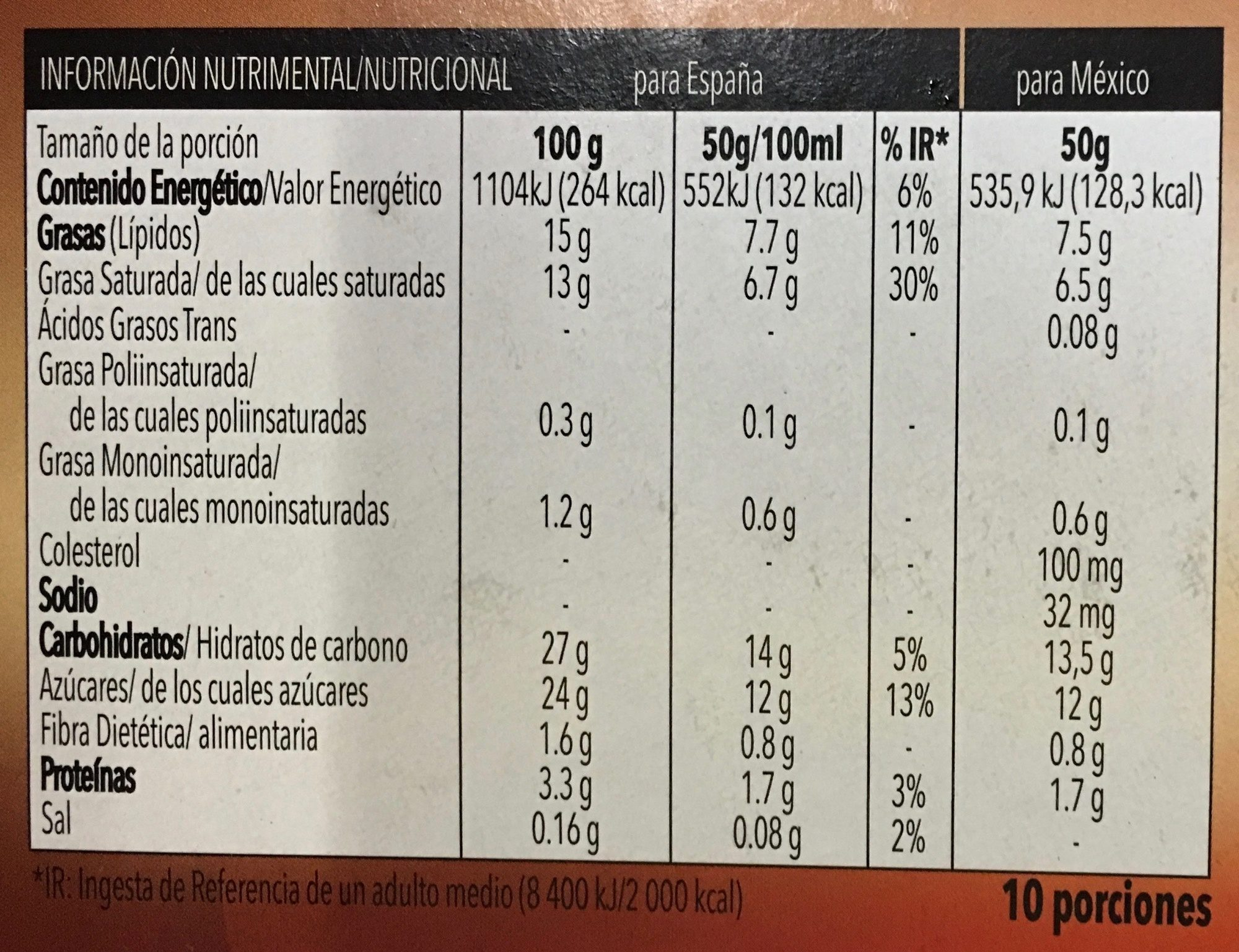 Tarta de chocolate - Nutrition facts - es