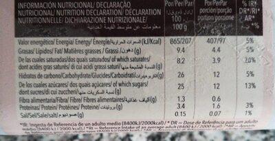 Helado de chocolate - Informació nutricional
