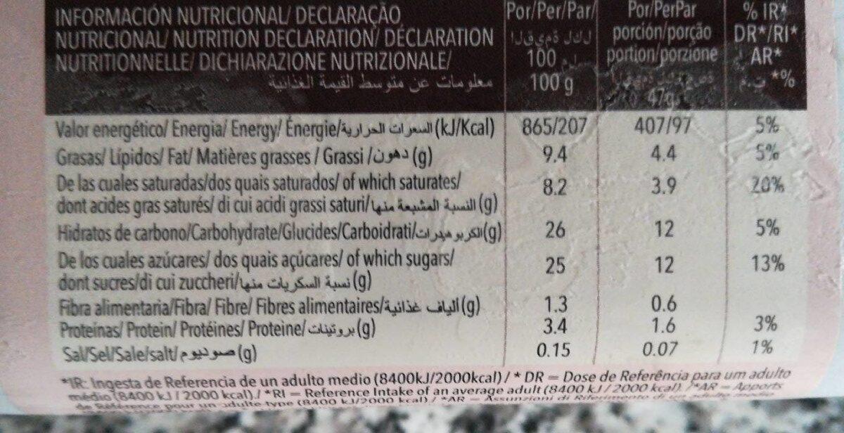 Helado de chocolate - Informació nutricional - es
