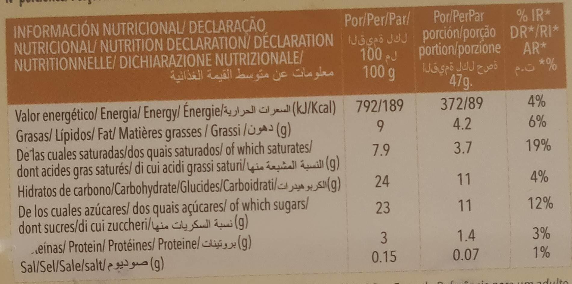 Helado sabor vainilla - Nutrition facts - es