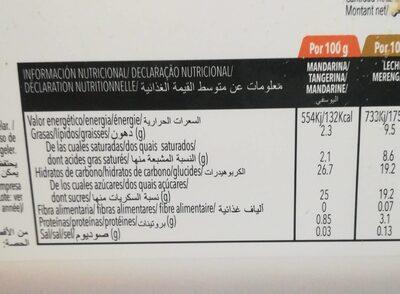 Sorbete de mandarina - Nutrition facts - es