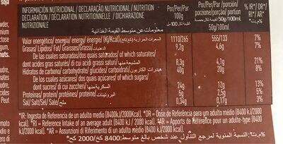 Sandwich sabor nata chocolate - Informació nutricional - es